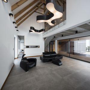 Odkryta więźba dachowa , jak również elementy oświetlenia stały się wyjątkową ozdoba salonu. Fot. Beczak/Beczak/Architektci