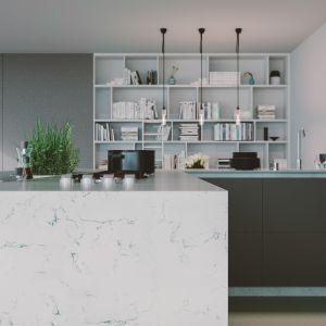 Konglomeraty kwarcytowe inspirowane marmurem Bianco Carrara. Fot. Technistone