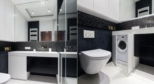 Zabudowę meblową, w których schowaliśmy pralkę możemy dodatkowo wyposażyć w lustrzane fronty, co pomoże nam optycznie powiększyć łazienkę.