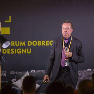 Przemówienie Pete'a Kerchera, gościa specjalnego Forum Dobrego Designu, założyciela EIDD Design for All Europe. Fot. Piotr Waniorek.