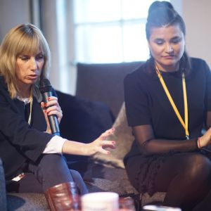 Agnieszka Buczkowska-Korlińska, architekt. V Forum Dobrego Designu: Barwny dom. Top kolory 2018 roku. Fot. Tomasz Wawer.