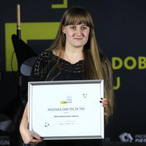 Wyróżnienie w kategorii Przestrzeń Kuchni i Jadalni za Mozaikę Oak Tecta TRS firmy Dunin odebrała Angelika Ogrodzka, specjalista ds. marketingu i PR.