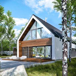 Wizytówką projektu jest przeszklona witryna ogrodowa. Dom EX 19 G2 Energo Plus. Projekt: Artur  Wójciak. Fot. Pracownia Projektowa Archipelag