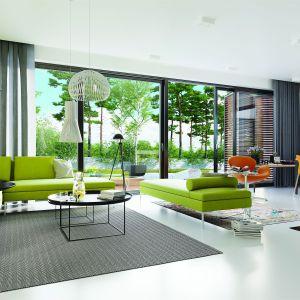 Soczysta zieleń we wnętrzu doskonale koresponduję z naturalnymi barwami w ogrodzie. Dom EX 19 G2 Energo Plus. Projekt: Artur Wójciak. Fot. Pracownia Projektowa Archipelag