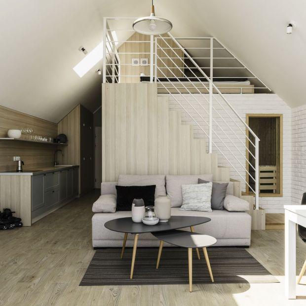 Mieszkanie z antresolą: projekt wnętrza w stylu skandynawskim