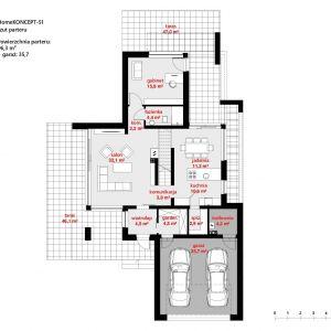 Rzut parteru. Dom HomeKONCEPT 51. Projekt i zdjęcia: Zespół Projektowy HomeKONCEPT