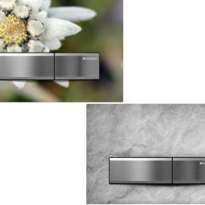 Przycisk Geberit Sigma50, który można wypełnić własnym materiałem, osiągając niepowtarzalny efekt. Fot. Geberit