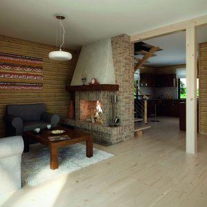 Zaletą domu jest z pewnością kominek usytuowany w salonie. Projekt: arch. Tomasz Sobieszuk. Fot. Biuro Projektów MTM Styl