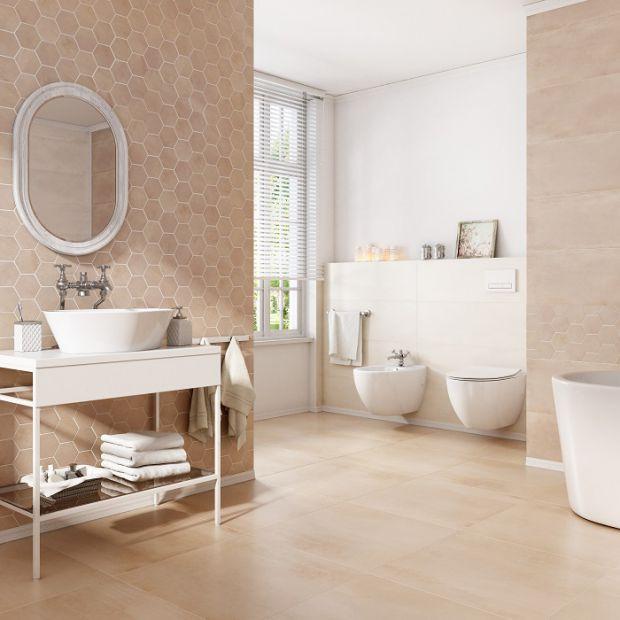 Beżowa łazienka Dobrzemieszkajpl