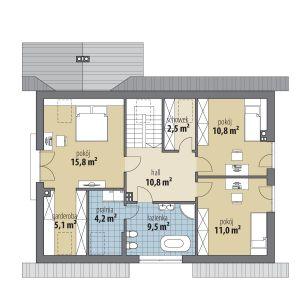 PODDASZE: 1.hol 10,80 m² 2.pokój 15,80 m² 3.garderoba 5,10 m² 4.pralnia 4,20 m² 5.łazienka 9,50 m² 6.schowek 2,50 m² 7.pokój 10,80 m² 8.pokój 11,00 m²
