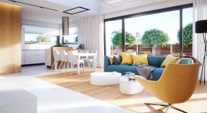 Nowoczesny dom parterowy o powierzchni użytkowej 93,80 mkw został zaprojektowany z myślą o niewielkiej rodzinie (2+1). Zobaczcie projekt i wnętrza!