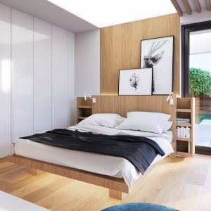 Biel i drewno to motywy przewodnie w sypialni małżeńskiej. Projekt i zdjęcia: Zespół Projektowy HomeKONCEPT