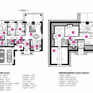 PARTER: 122,39 m2 1. sień – 5,67 m2 2. hol – 12,51 m2 3. kuchnia – 12,33 m2 4. spiżarnia – 1,20 m2 5. pokój dzienny + jadalnia – 33,64 m2 6. hol – 12,51 m2 7. sypialnia – 13,10 m2 8. sypialnia – 13,10 m2 9. sypialnia – 15,33 m2 10. garderoba – 3,16 m2 11. łazienka – 7,91 m2 12. pralnia – 1,26 m2 13. wc -1,92 m2 14. szatnia – 1,67 m2 15. kotłownia* – 6,16 m2 16. garaż* – 34,22 m2 PODDASZE DO ADAPTACJI*: 56,08 m2 (109,38 m2) 1. korytarz – 4,86 m2 2. pokój – 13,40 m2 (23,43 m2) 3. pokój – 12,91 m2 (18,24 m2) 4. antresola – 11,44 m2 (20,77 m2) 5. łazienka – 4,74 m2 (7,86 m2) 6. strych – 8,73 m2 (34,22 m2) Rzut domu. Dom na parkowej 6. Projekt: arch. Michał Gąsiorowski. Fot. MG Projekt