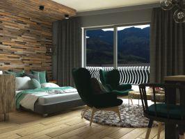 Z okna przy łóżku roztacza się piękny widok na góry. Projekt: Beata Wołkowska, VIVINO Studio