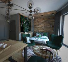Niewielkie mieszkanie tworzy otwarta przestrzeń z wydzieloną nieco strefą sypialni. Projekt: Beata Wołkowska, VIVINO Studio