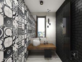 Jedna z łazienek dla gości. Projekt: Marcin Gałuszka, Marcin Janus, Frog Studio