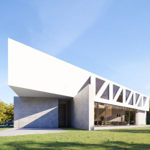 Kratownicową konstrukcję piętra wypełniają okna, które wpuszczają dużo światła dziennego do wnętrza. Dom Most. Projekt i zdjęcia: 81.waw.pl