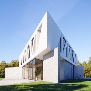 Bryła piętra stanowi idealny trójkąt prostokątny. Zastosowanie konstrukcji mostowej nie jest przypadkowe - bardzo mała liczba podpór w parterze wymagała takiego właśnie rozwiązania. Dom Most. Projekt i zdjęcia: 81.waw.pl