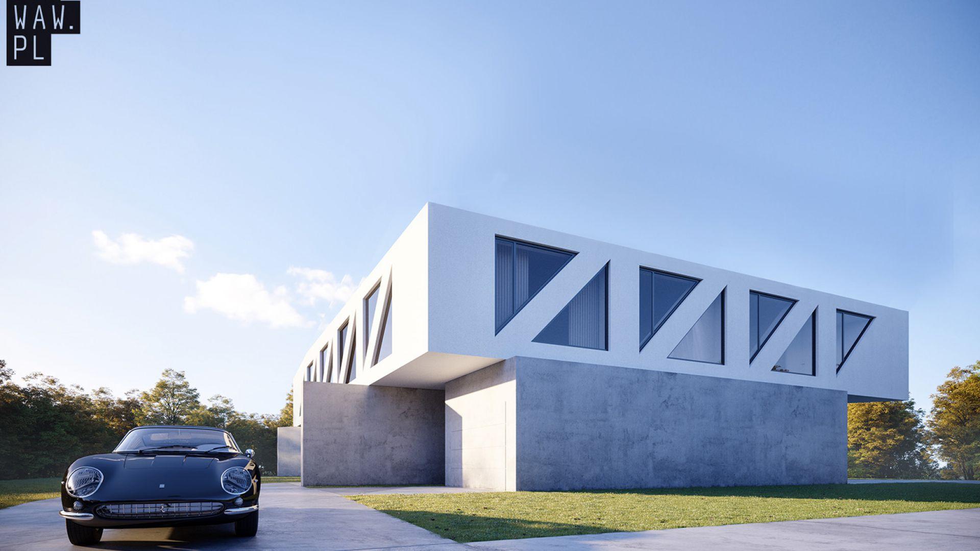 Lekka, ażurowa biała forma piętra unosi się nad ziemią, podparta na betonowych filarach niczym most nad rzeką. Dom Most. Projekt i zdjęcia: 81.waw.pl