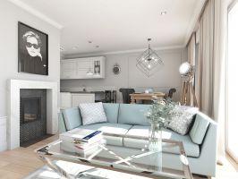 Mieszkanie w stylu glamour - strefa dzienna. Projekt: Aleksandra Pater-Bartnik, ArchOmega Studio