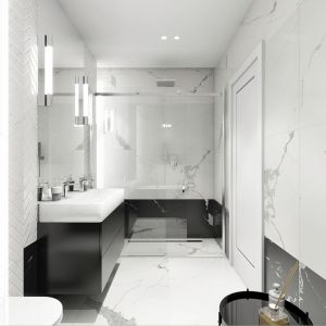 Mieszkanie w stylu glamour - łazienka. Projekt: Aleksandra Pater-Bartnik, ArchOmega Studio. Fot. ArchOmega Studio