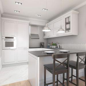 Mieszkanie w stylu glamour - aneks kuchenny. Projekt: Aleksandra Pater-Bartnik, ArchOmega Studio. Fot. ArchOmega Studio