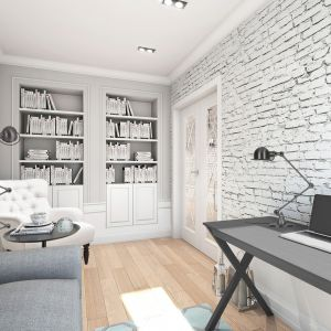 Mieszkanie w stylu glamour - gabinet. Projekt: Aleksandra Pater-Bartnik, ArchOmega Studio. Fot. ArchOmega Studio