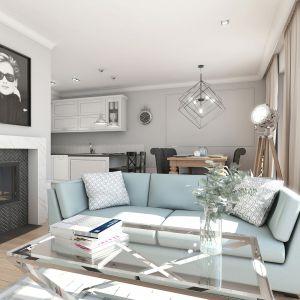 Mieszkanie w stylu glamour - strefa dzienna. Projekt: Aleksandra Pater-Bartnik, ArchOmega Studio. Fot. ArchOmega Studio