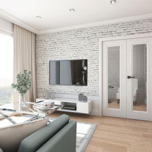 Mieszkanie w stylu glamour - salon z wejściem do gabinetu. Projekt: Aleksandra Pater-Bartnik, ArchOmega Studio. Fot. ArchOmega Studio