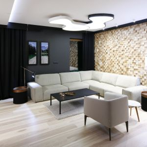 """Ściana za kanapą w całości została wykonana na zamówienie. Zdobi ją  unikatowa mozaika z drewna jesionowego. Całość wykonano aż z 1,5 tys. pojedynczych elementów. Drewniane """"klocki"""" ułożone na  sztorc przepięknie odbijają refleksy świetlne. Projekt: Jan Sikora. Fot. Bartosz Jarosz"""