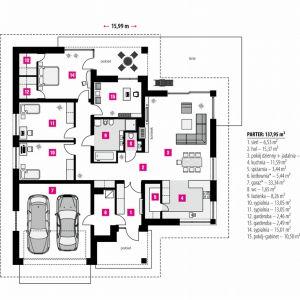 Rzut domu. PARTER: 137,95 m2 1. sień – 6,53 m2 2. hol – 15,37 m2 3. pokój dzienny + jadalnia – 34,54 m2 4. kuchnia – 11,59 m2 5. spiżarnia – 3,44 m2 6. kotłownia* – 5,44 m2 7. garaż* – 33,34 m2 8. wc – 1,65 m2 9. łazienka – 8,26 m2 10. sypialnia – 13,05 m2 11. sypialnia – 13,05 m2 12. garderoba – 2,46 m2 13. sypialnia – 15,01 m2 14. pokój-gabinet – 10,50 m2 *pomieszczenia niewliczone do powierzchni użytkowej