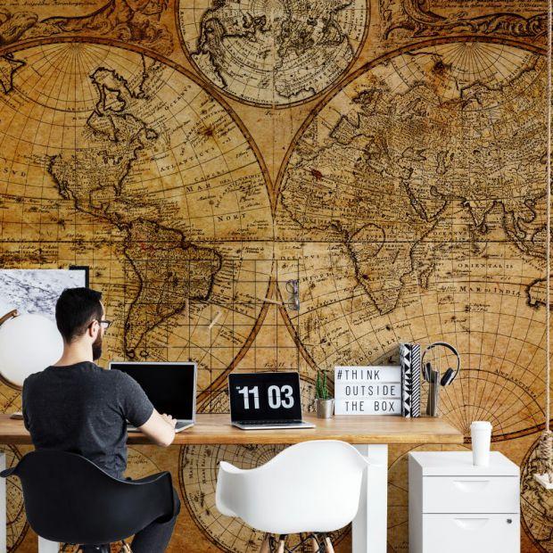 Pomysły na ściany - fototapety z motywem map