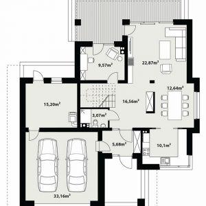 PARTER: 95,69 m2 1. wiatrołap – 5,68 m2 2. hol – 16,56 m2 3. łazienka – 3,07 m2 4. pokój – 9,57 m2 5. salon – 22,87 m2 6. jadalnia – 12,64 m2 7. kuchnia – 10,10 m2 8. kotłownia – 15,20 m2 9. garaż* – 33,16 m2