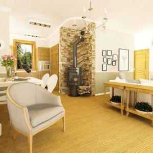W domu o powierzchni 90 metrów kwadratowych zaprojektowano salon o powierzchni 20 metrów. Proj. Raniuszek. Fot. Dom dla Ciebie Pracownia Projektowa Archeco