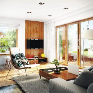 Optycznym zabiegiem powiększającym salon w małym domu jest też zastosowanie dużych przeszkleń. Proj. Dom w żurawkach. Fot. Archon +