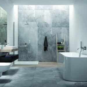 Nowoczesna  łazienka: kabina TX5+WSP-kpl, wanna Luxo.  Fot. Sanplast