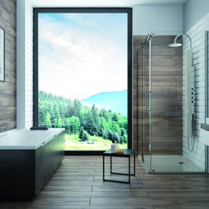 Nowoczesna  łazienka: kabina KND2, wanna ALT+WP.   Fot. Sanplast