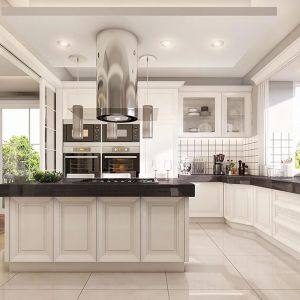 Jasna kuchnia została zaprojektowana bardzo nowocześnie, ale stylistyka nawiązuje do tradycji. Projekt: arch. Michał Gąsiorowski. Fot. MG Projekt