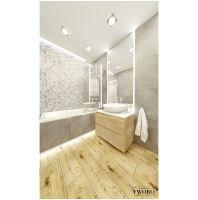 Łazienka w szarościach i drewnie