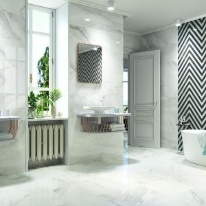 Jasne płytki do łazienki: trendy na 2018 rok. Producent:  Porcelanite. Fot. Porcelanite