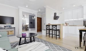 Salon z aneksem kuchennym i jadalnią. Projekt i wizualizacje: Klaudia Tworo