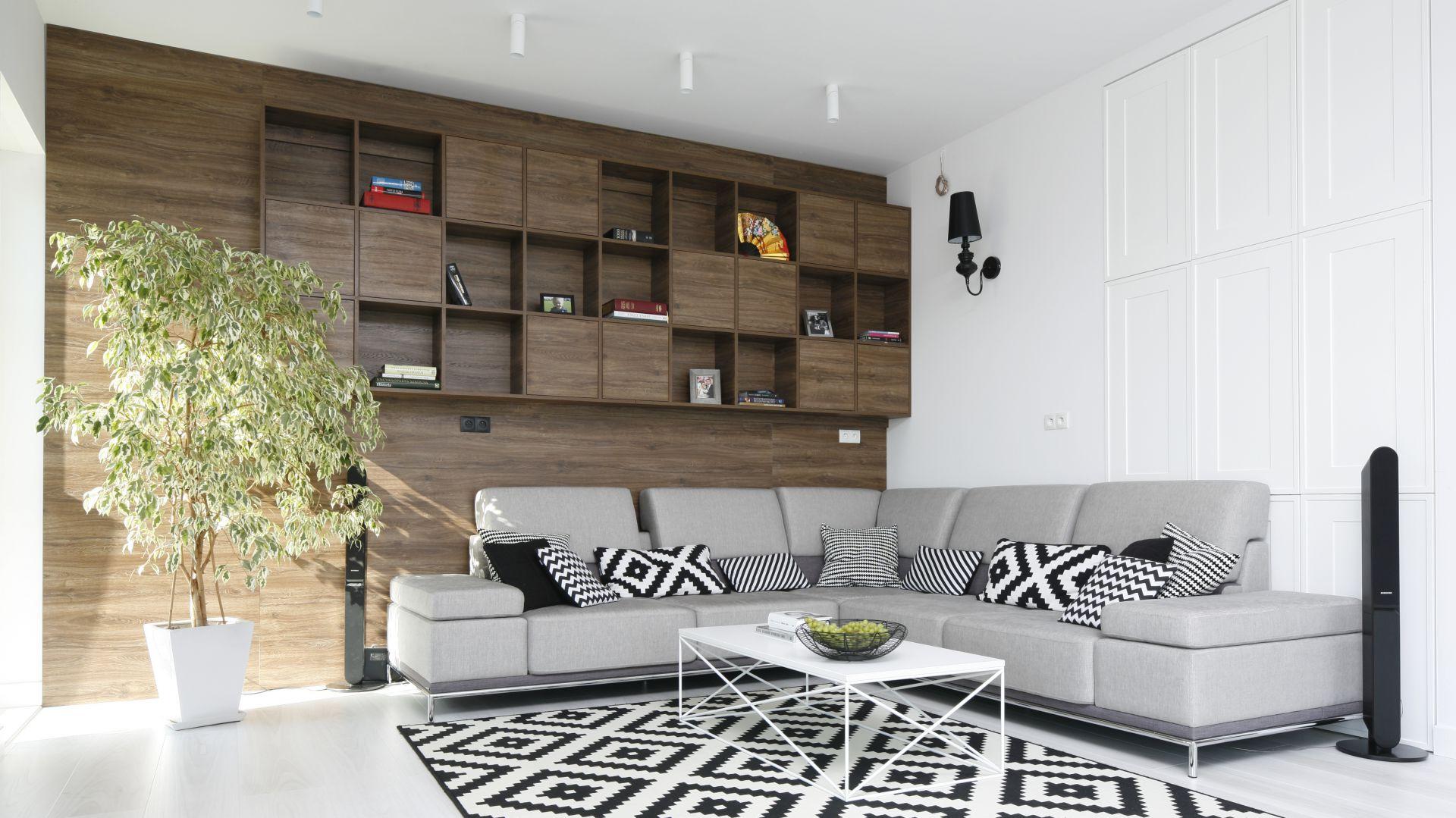 Ściany w salonie. Projekt: Maria Biegańska, Ewelina Pik. Fot. Bartosz Jarosz