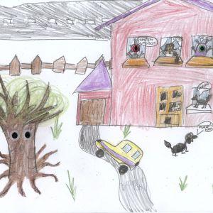 Praca nagrodzona w konkursie na rysunek wymarzonego domu. Autorka: Maja Zamłynny-Kowalska