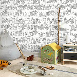 Na stoisku Dobrze Mieszkaj dzieci, poza udziałem w konkursie mogły puścić wodze artystycznej wyobraźni i pokolorować tapety, specjalnie przygotowane w formacie A4 przez ich producenta, markę Flügger. Na zdjęciu tapeta z kolekcji Little World
