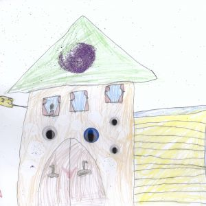 Praca zgłoszona w konkursie na rysunek wymarzonego domu, który odbył się w Katowicach na Dniach Otwartych 4 Design Days