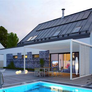Projekt w nocnej scenerii. Dom Sam II G2 Energo Plus. Projekt: arch. Artur Wójciak. Fot. Pracownia Projektowa Archipelag