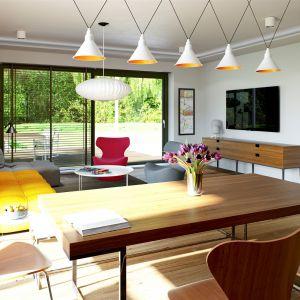 Dekoracyjny kamień w salonie koresponduje z elewacją, tworząc elegancką, spójną całość. Dom Sam II G2 Energo Plus. Projekt: arch. Artur Wójciak. Fot. Pracownia Projektowa Archipelag