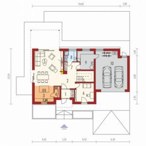 Parter: 1. Wiatrołap3.46 m²2. Hol + schody15.12 m²3. Kuchnia10.76 m²4. Spiżarnia2.07 m²5. Pokój dzienny + jadalnia34.11 m²6. Gabinet12.13 m²7. Korytarz z garderobą4.54 m²8. Łazienka4.49 m²9. Kotłownia9.92 m²10. Garaż40.67 m². Dom Sam II G2 Energo Plus. Projekt: arch. Artur Wójciak. Fot. Pracownia Projektowa Archipelag