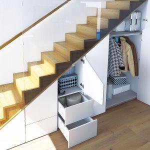 WingLine L zachwyca w aranżacji wnętrz. Zpowodzeniem można dzięki niemu zagospodarować nawet tak skomplikowane miejsce jak wnęka pod schodami w wąskim korytarzu. Fot. Hettich