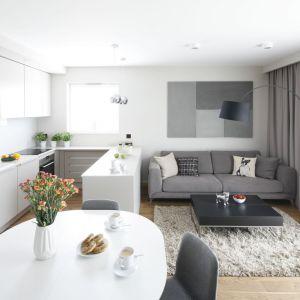 Małe mieszkania wymagają szczególnie starannego zaprojektowania. Tu Zastosowane kolory i układ mebli pozwalają na komfortowe funkcjonowanie pomimo małego metrażu. Projekt: Katarzyna Uszok. Fot. Bartosz Jarosz